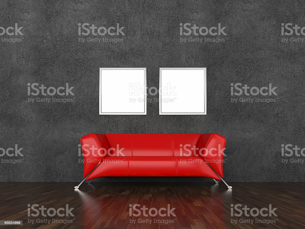 Sofa and pictures in an interior royalty-free stock vector art