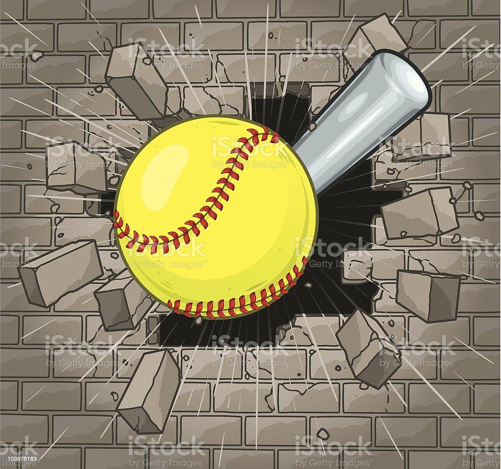 Softball Brick Wall royalty-free stock vector art