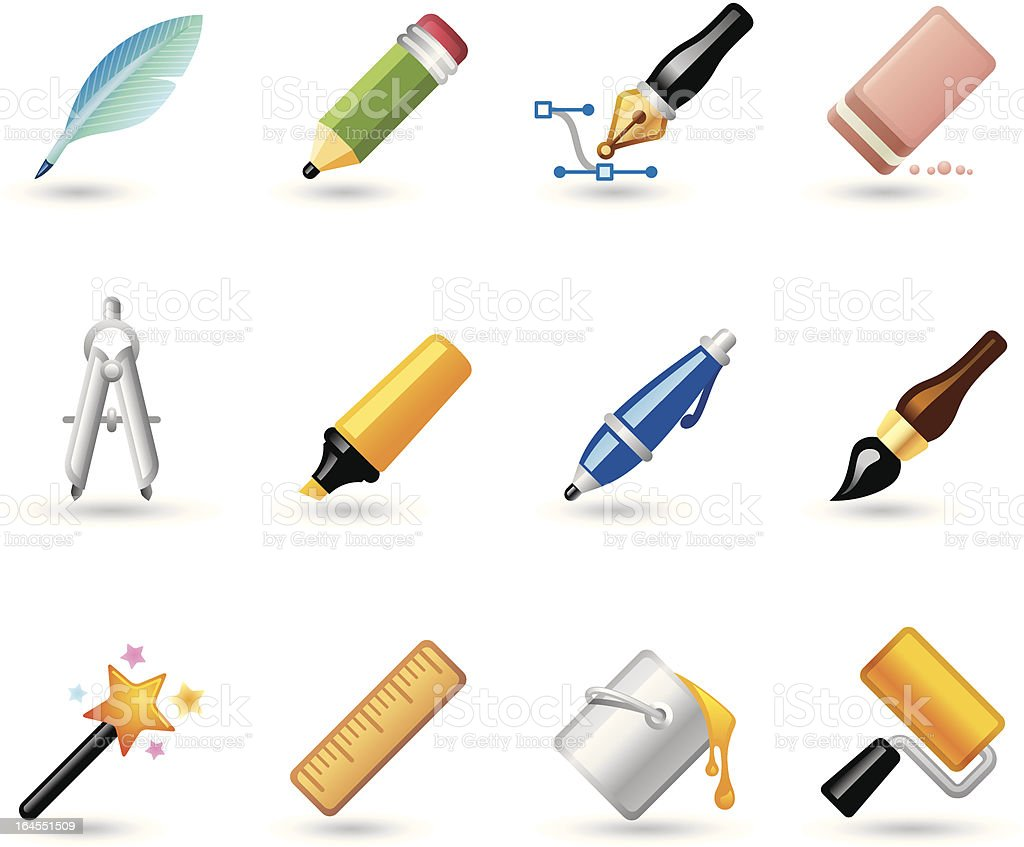 Softico Icons - Writing and Drawing royalty-free stock vector art