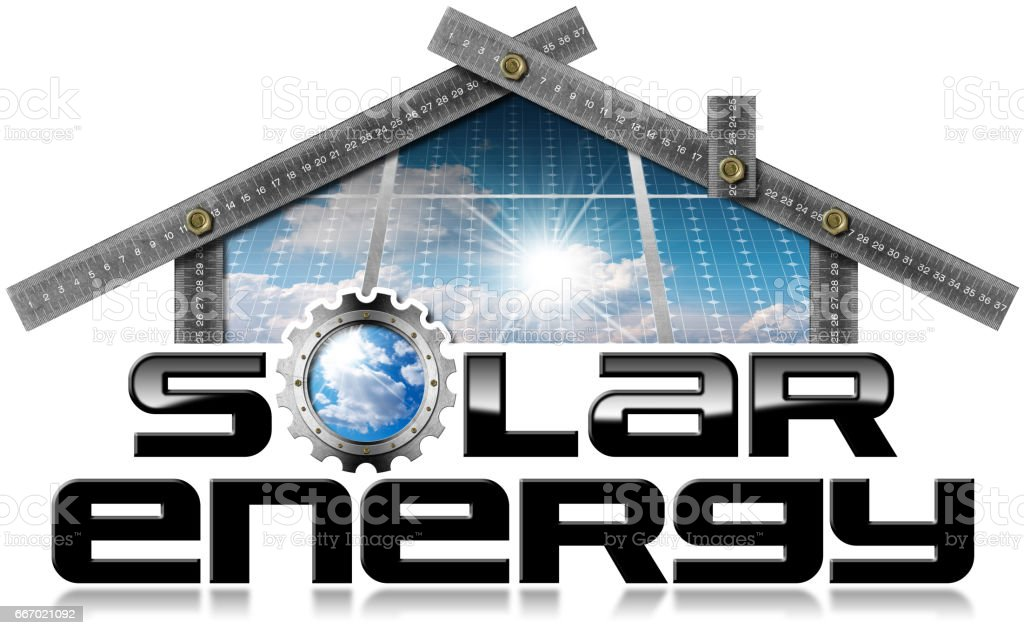 Solar Energy - Ruler in the Shape of House stock photo