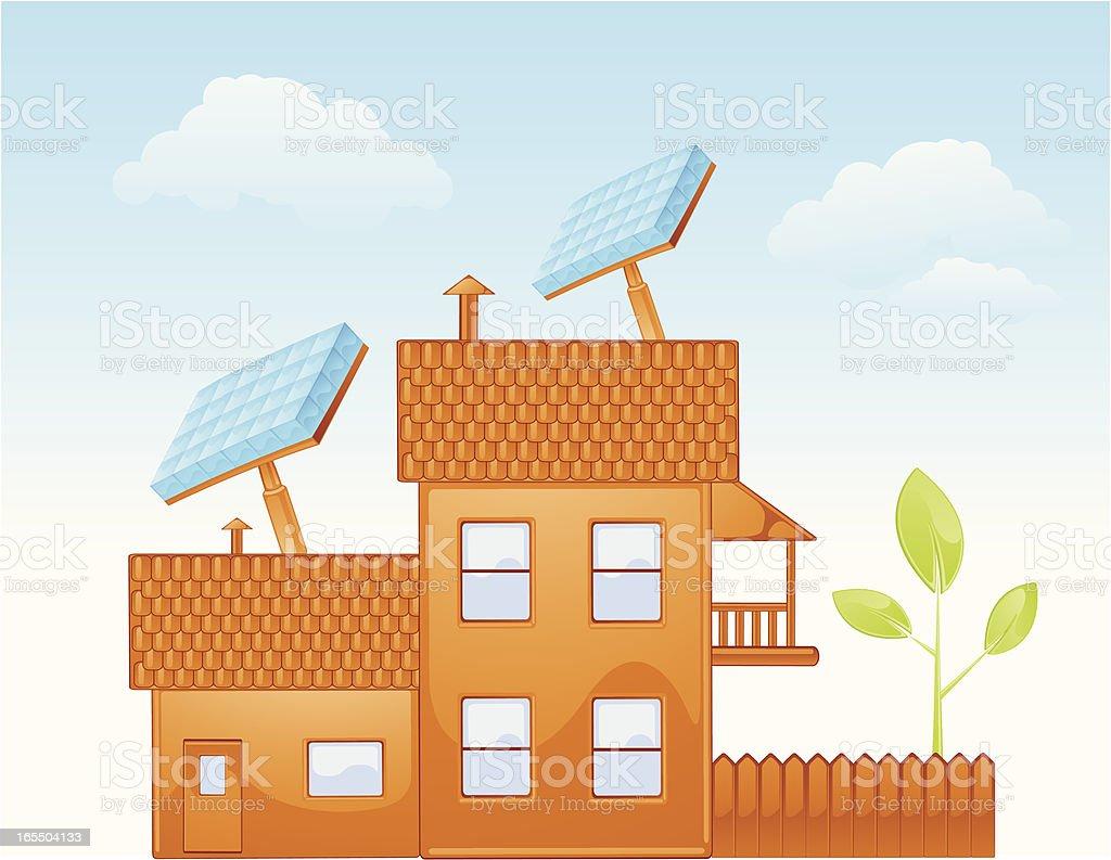 Solar Powered House royalty-free stock vector art