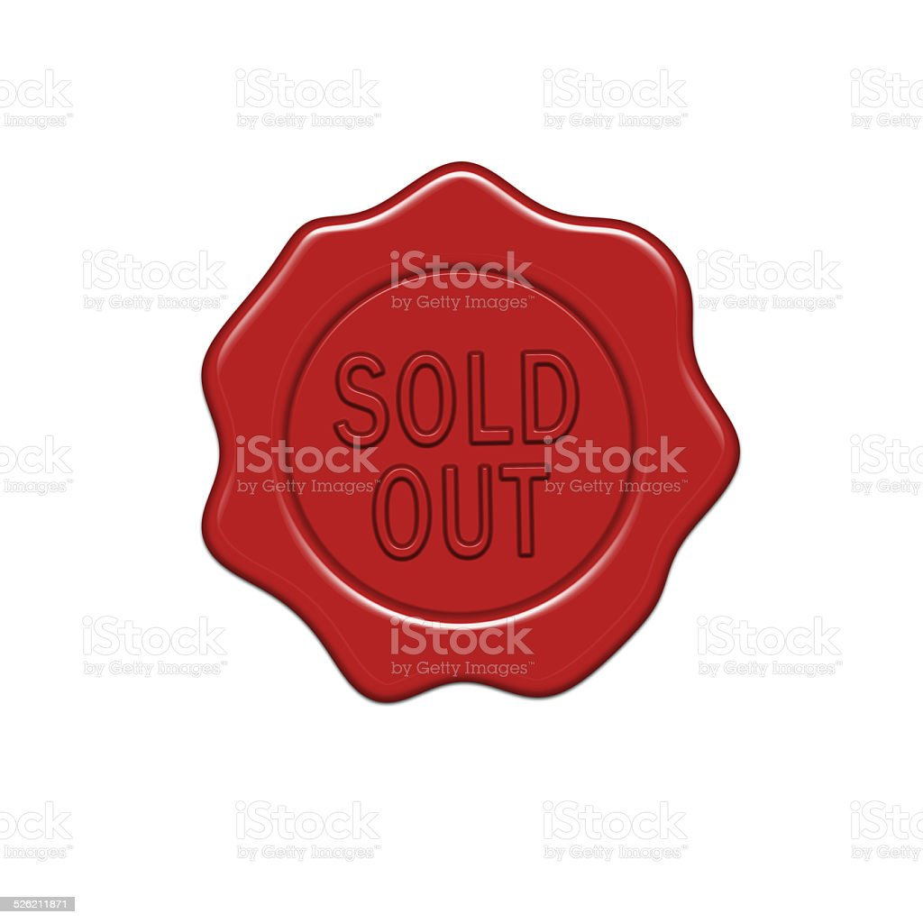 Sold out wax seal. vector art illustration
