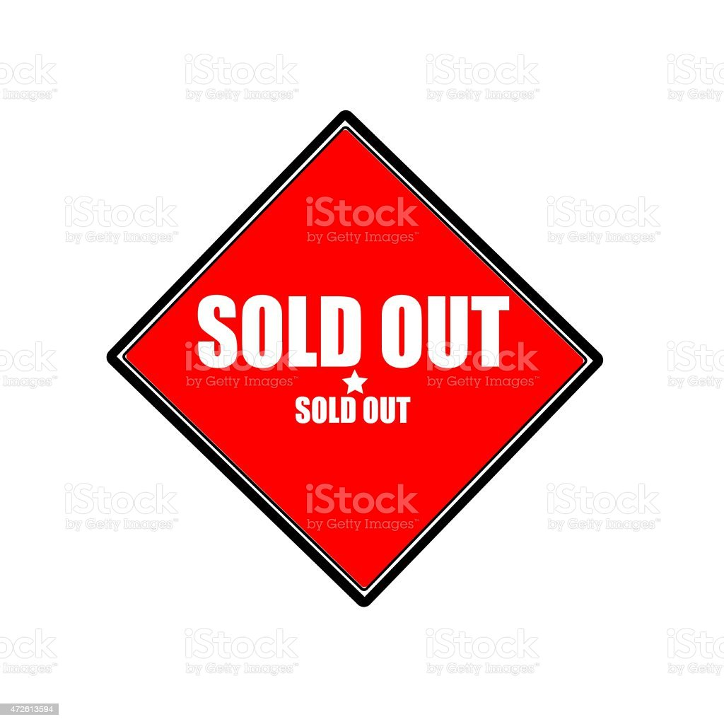 Sold out  white stamp text on red background vector art illustration