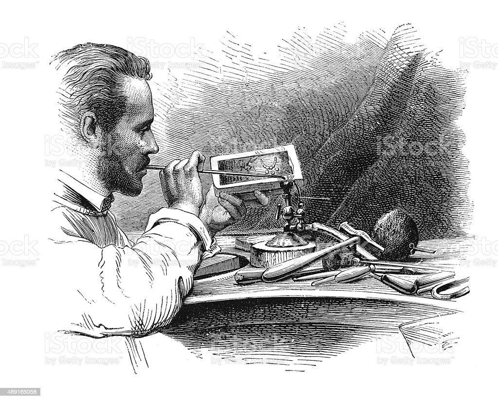 Soldering with blowpipe (antique engraving) vector art illustration