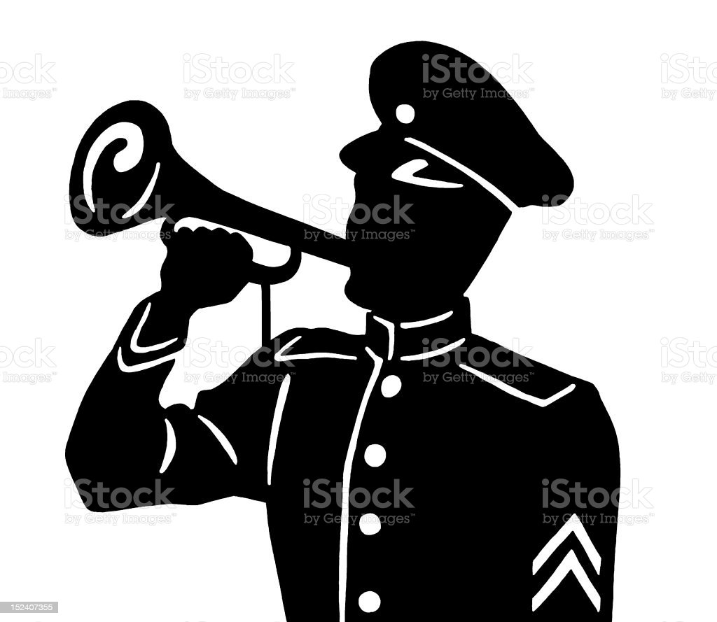 Soldier Blowing Horn royalty-free stock vector art