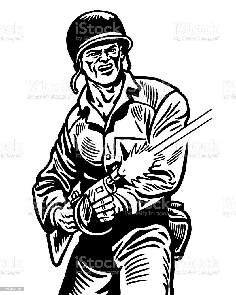 Soldier Firing Gun royalty-free stock vector art