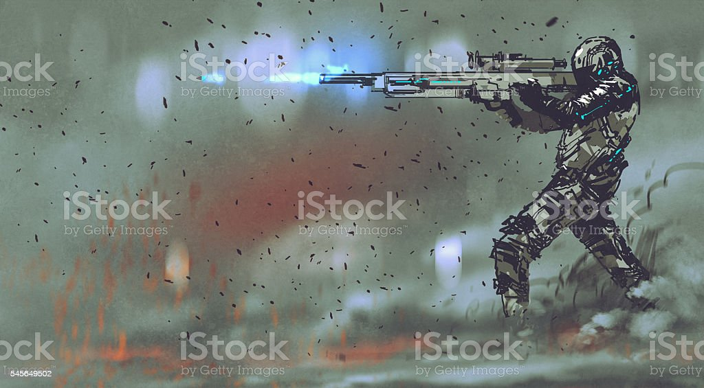 soldier shooting rifle with futuristic concept vector art illustration
