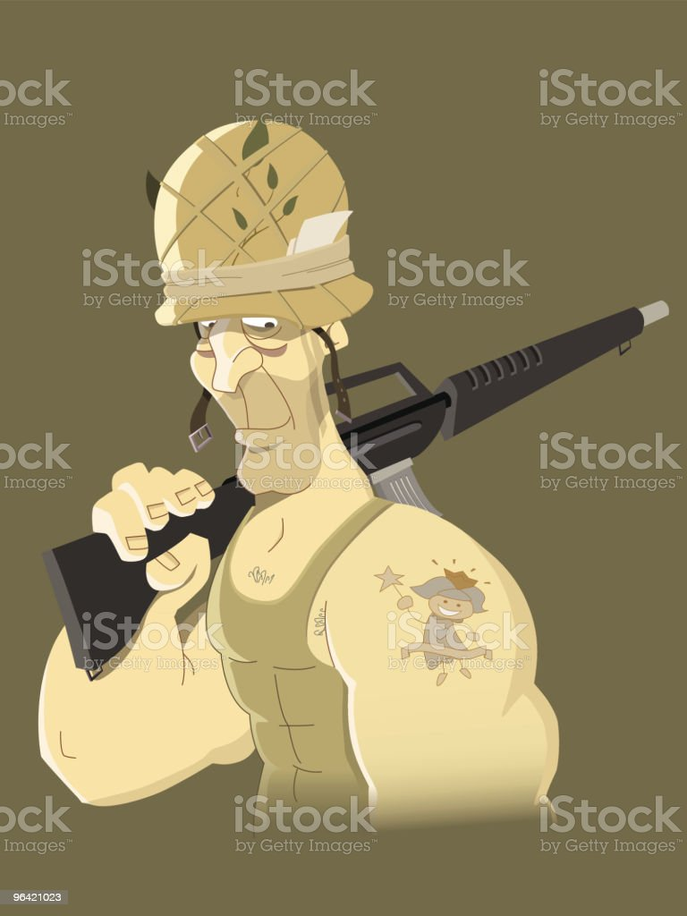 Soldier tatoo vector art illustration