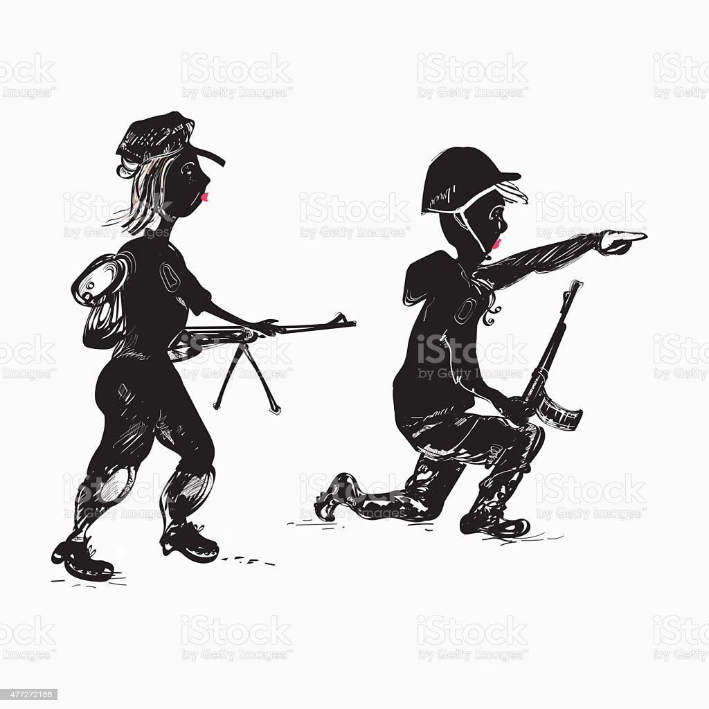 Soldiers Family vector art illustration