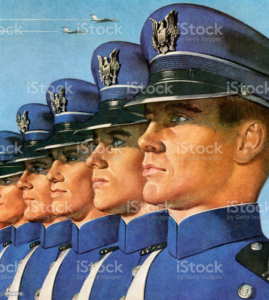 Soldiers Lined Up vector art illustration