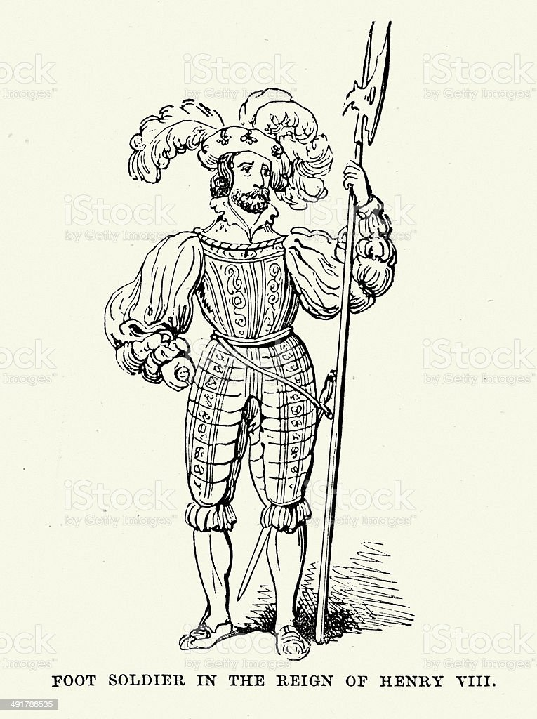 Solider of Henry VIII royalty-free stock vector art