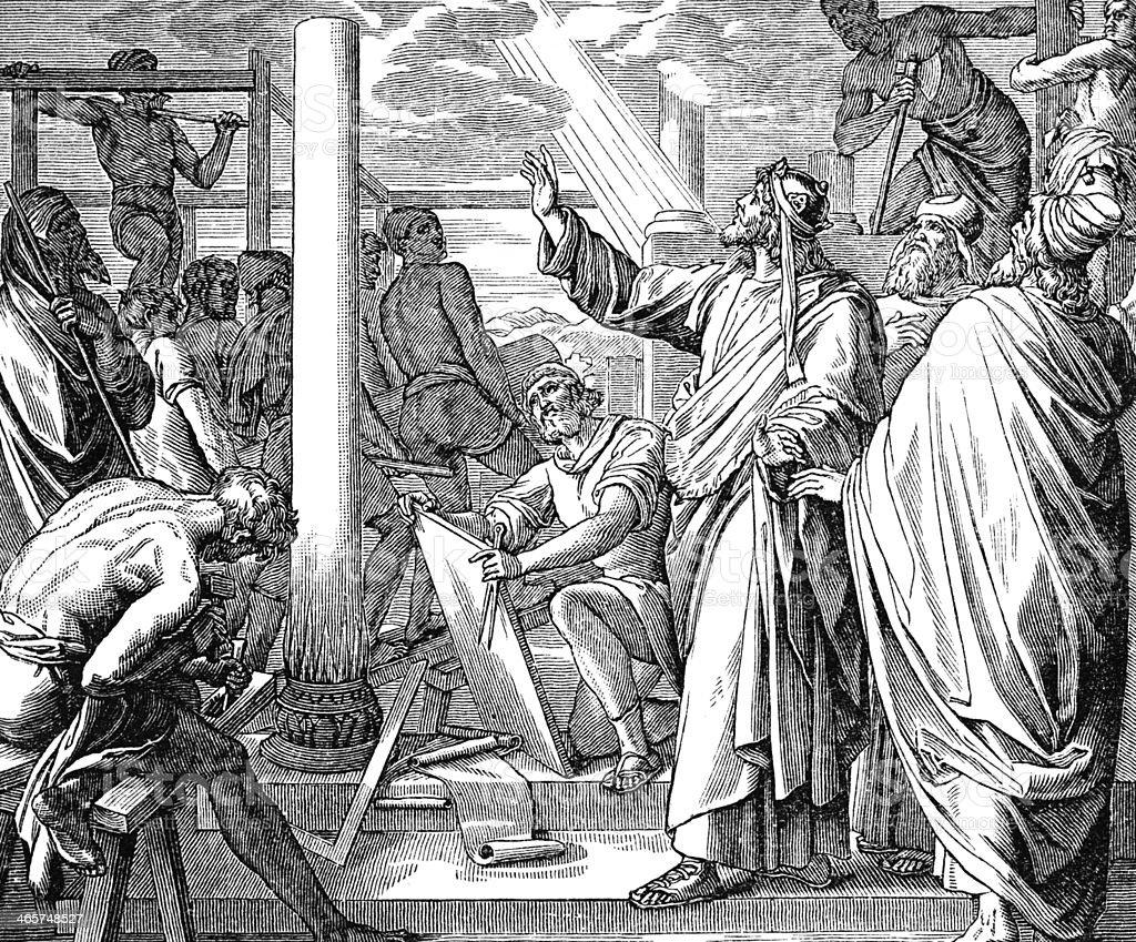 Soloman Builds the Temple vector art illustration