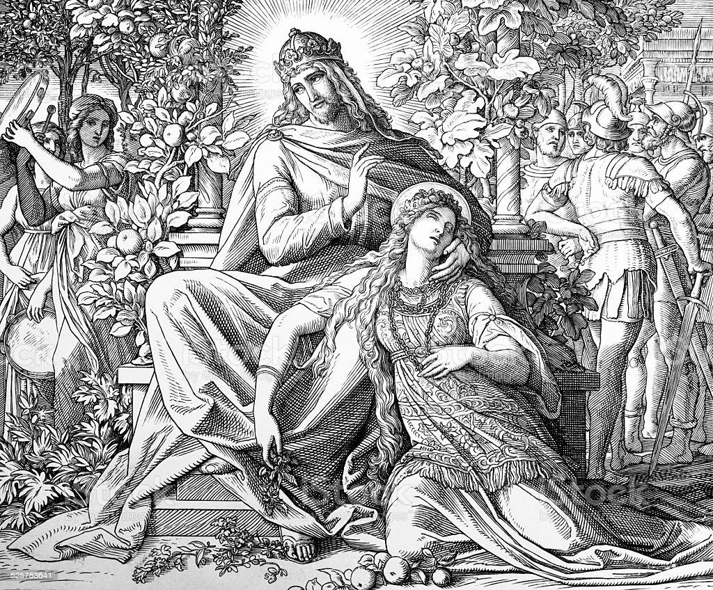 Solomon and Lady Wisdom vector art illustration