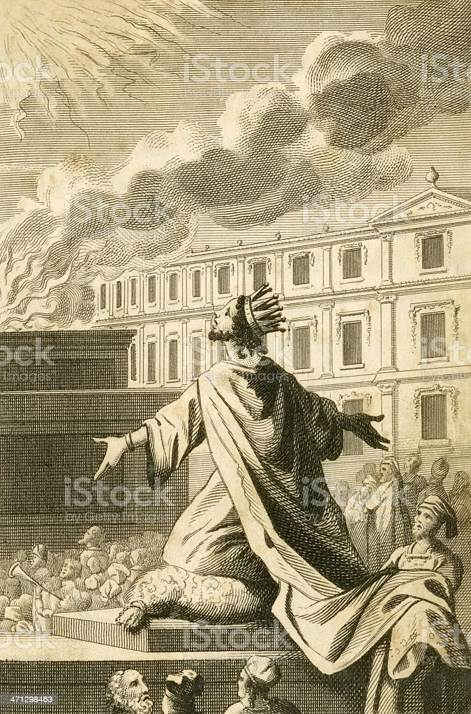 Solomon and the Temple (c1830 engraving) vector art illustration