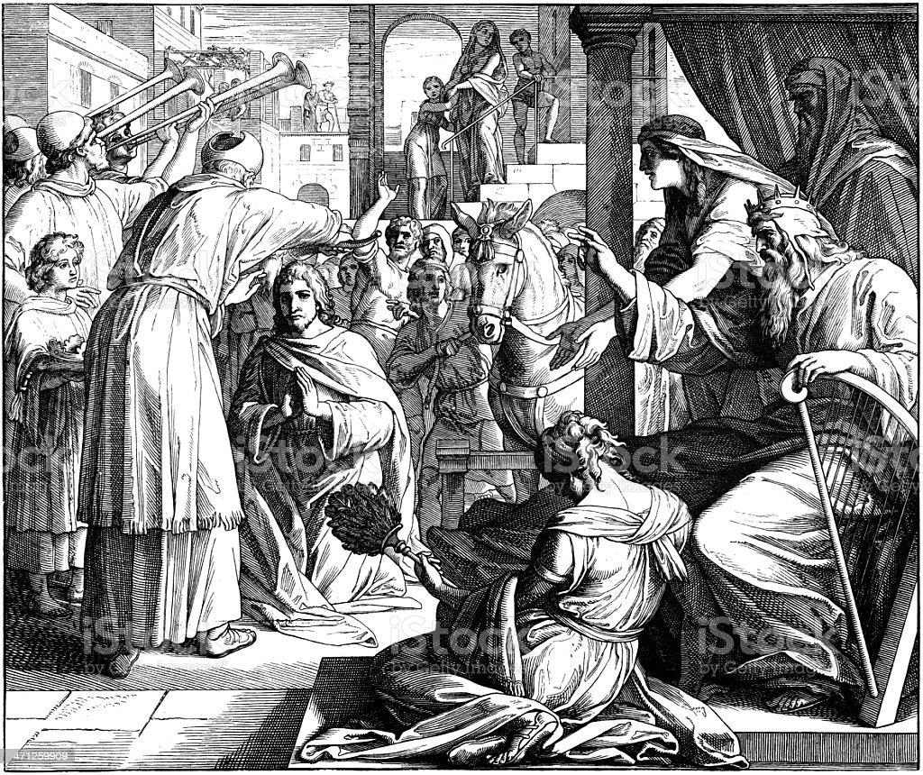 Solomon Named to Succeed David vector art illustration