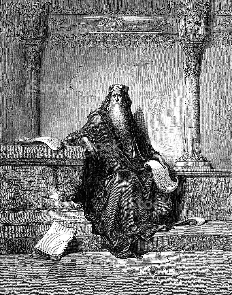 Solomon prays for wisdom vector art illustration