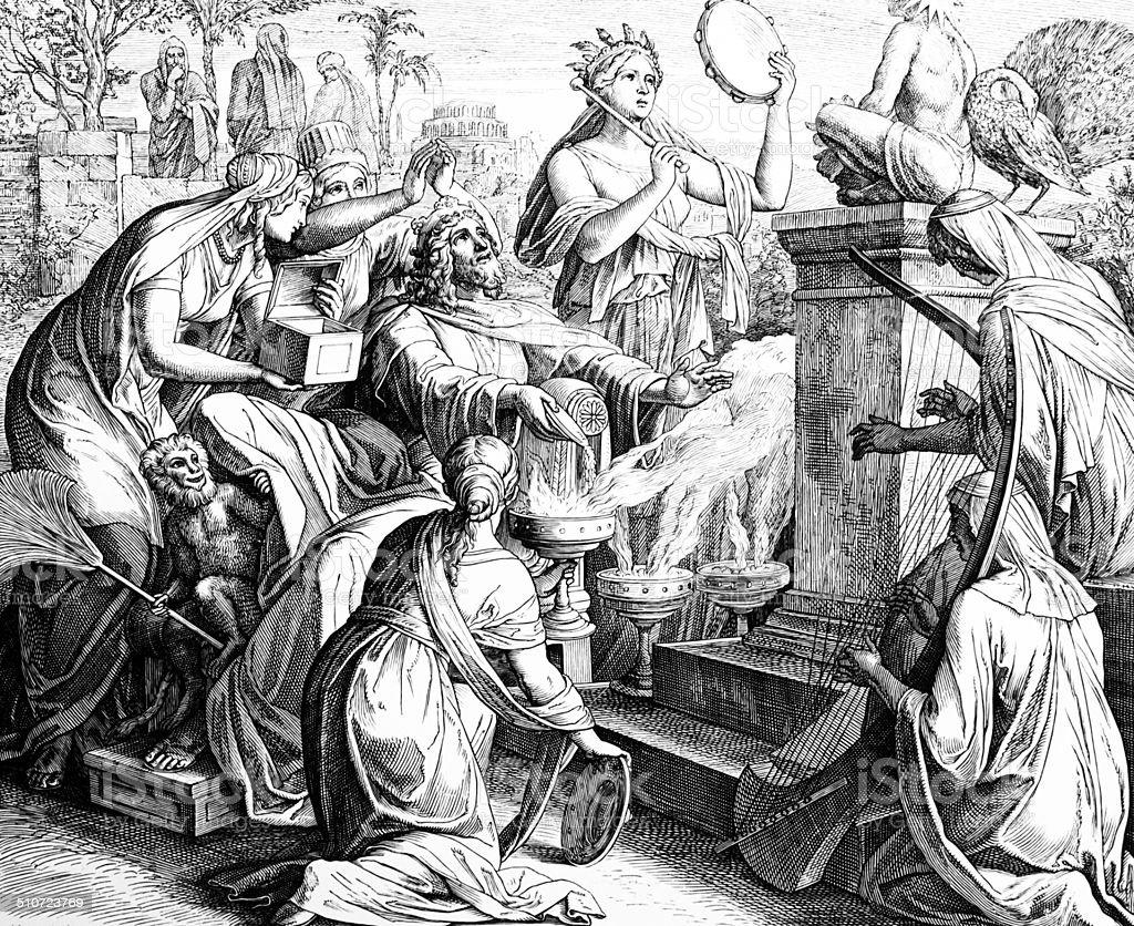 Solomon's Idolatry vector art illustration