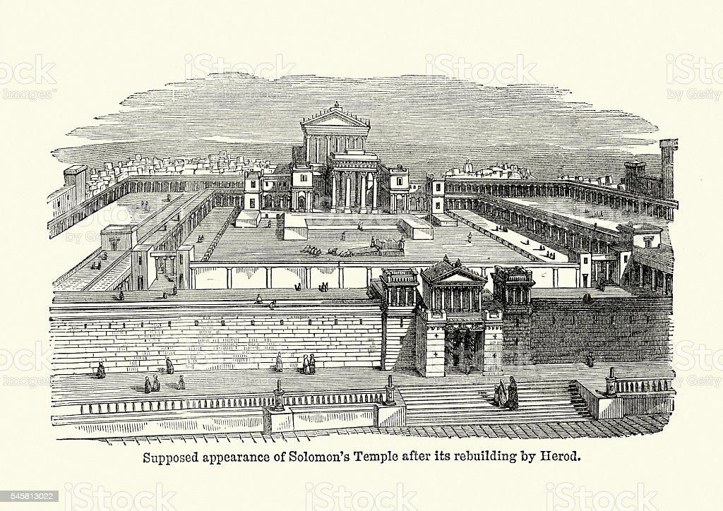 Solomon's Temple ancient Jerusalem vector art illustration