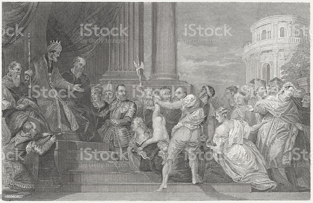 Solomon's Wise Judgment (1 Kings 3), by Veronese, published c.1840 vector art illustration