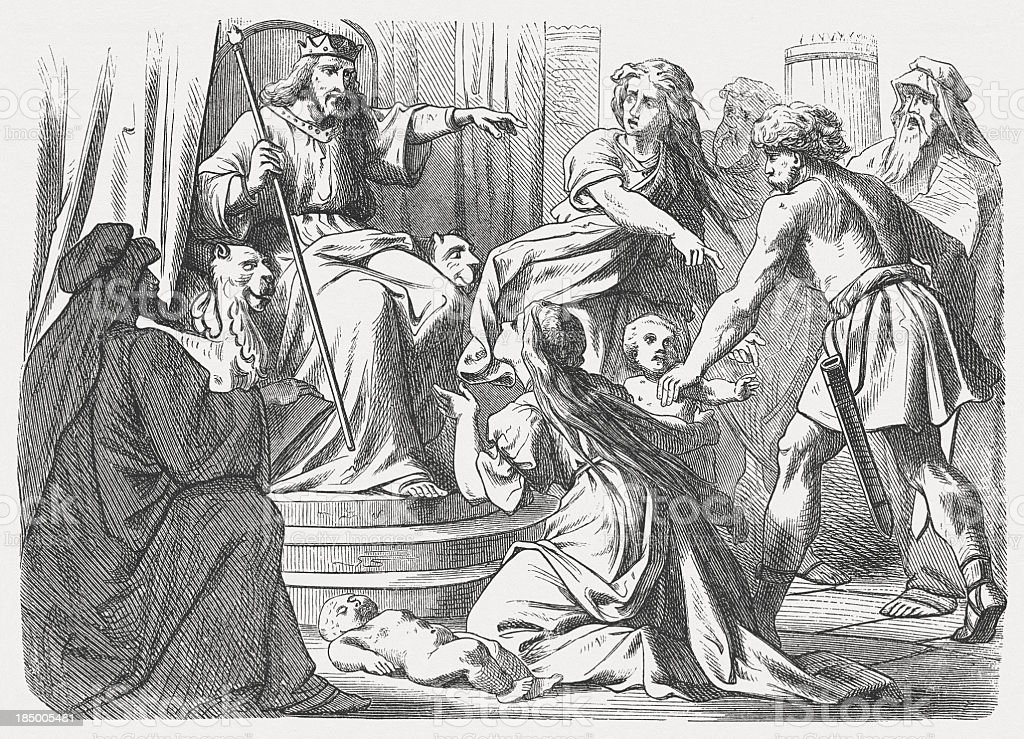 Solomon's wise judgment (1 Kings 4), wood engraving, published 1877 vector art illustration