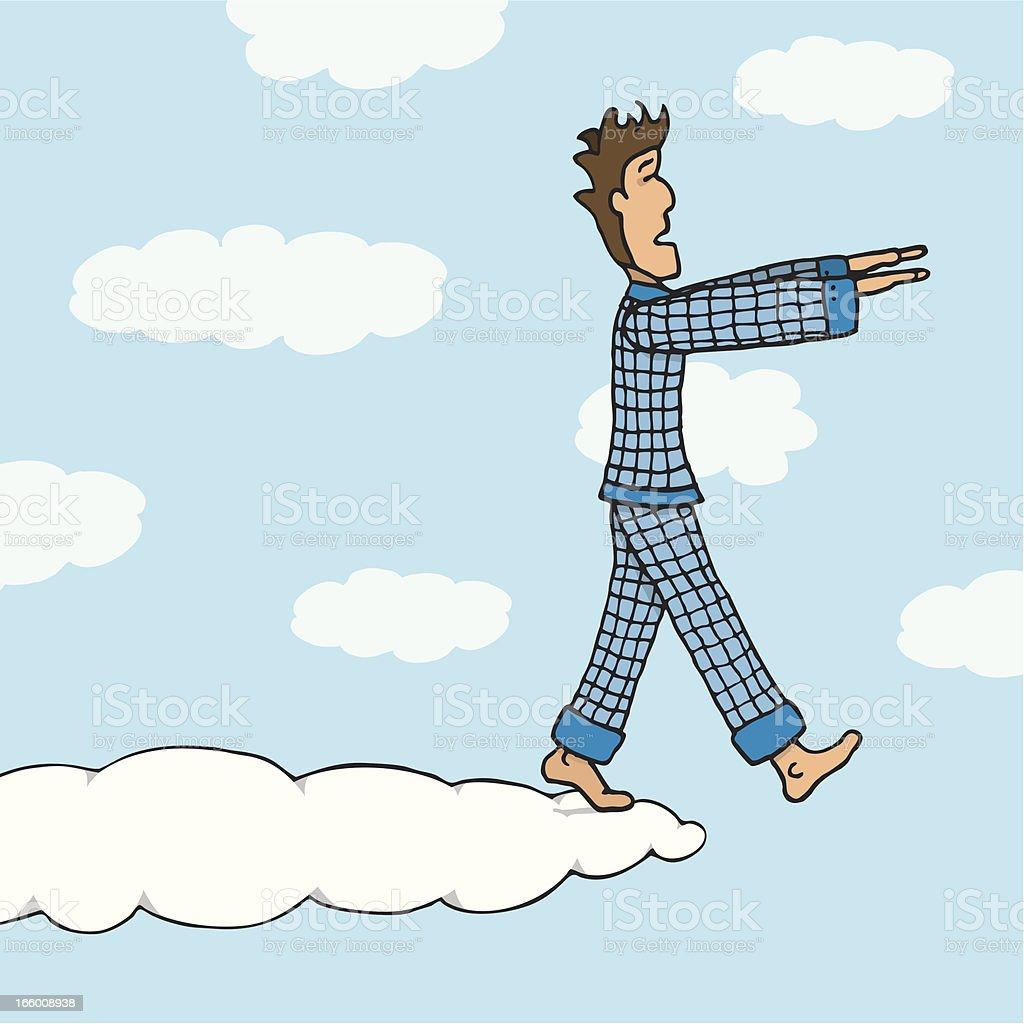 Somnambulant guy walking on cloud royalty-free stock vector art