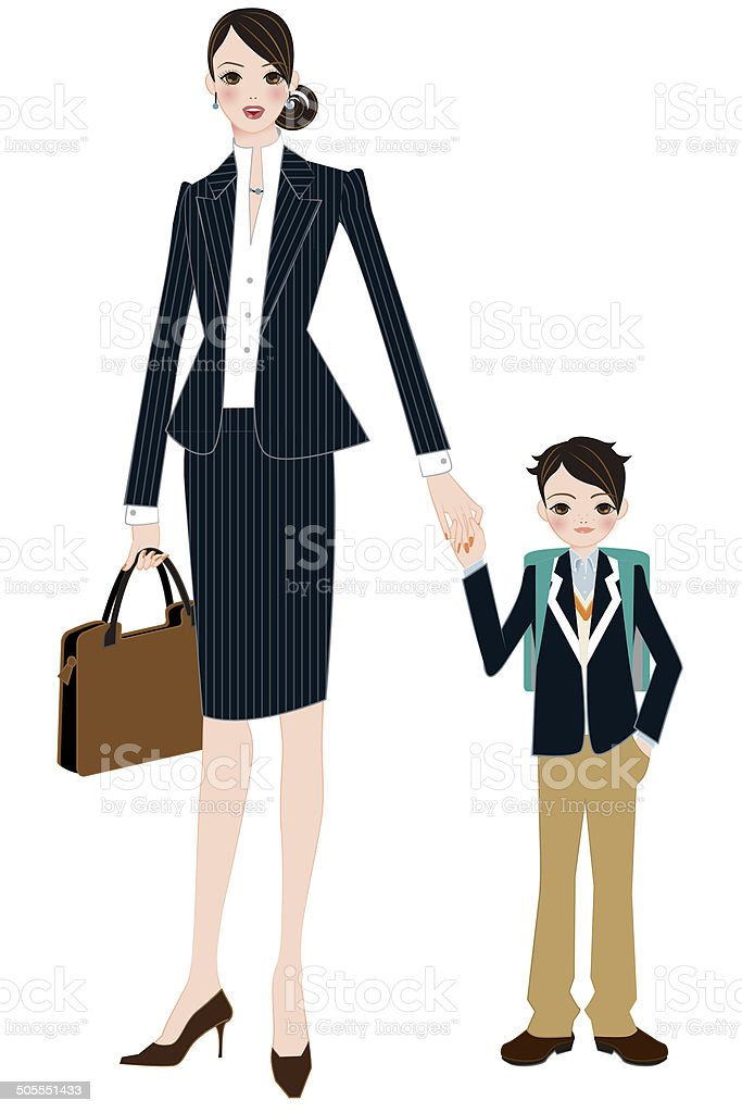 Son in elementary school and mother to work vector art illustration