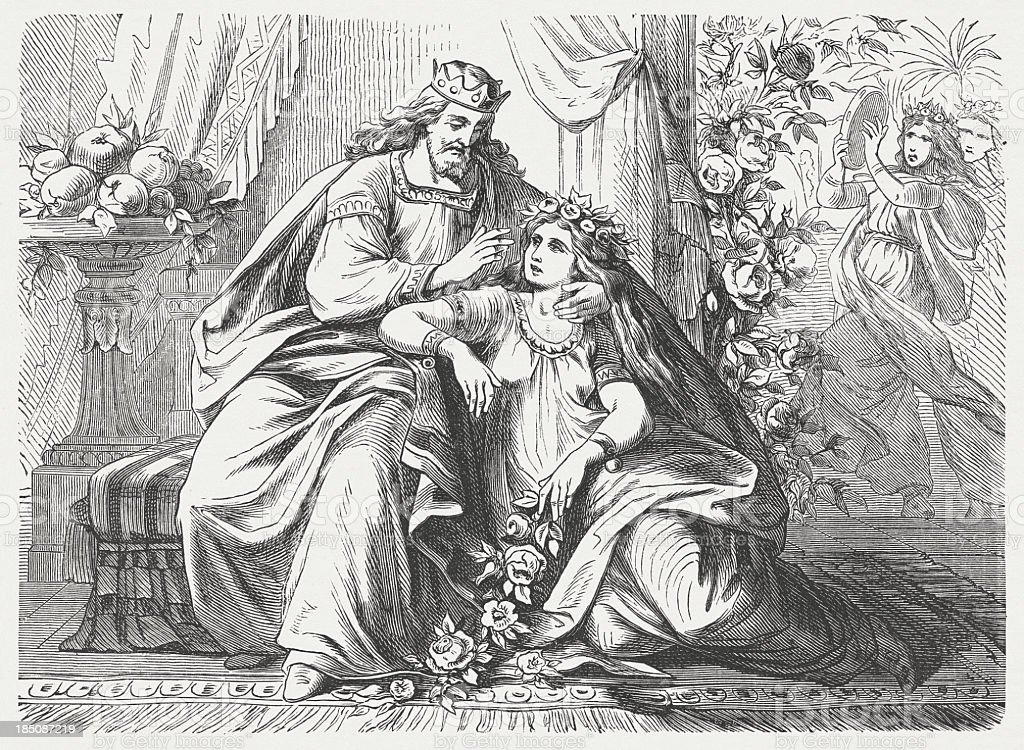Song of Solomon (Song of songs), wood engraving, published 1877 vector art illustration