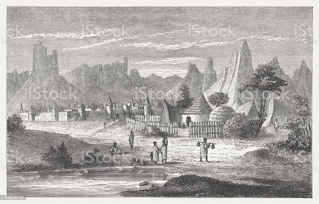 Songhai village near Hombori, Mali, wood engraving, published in 1882 vector art illustration