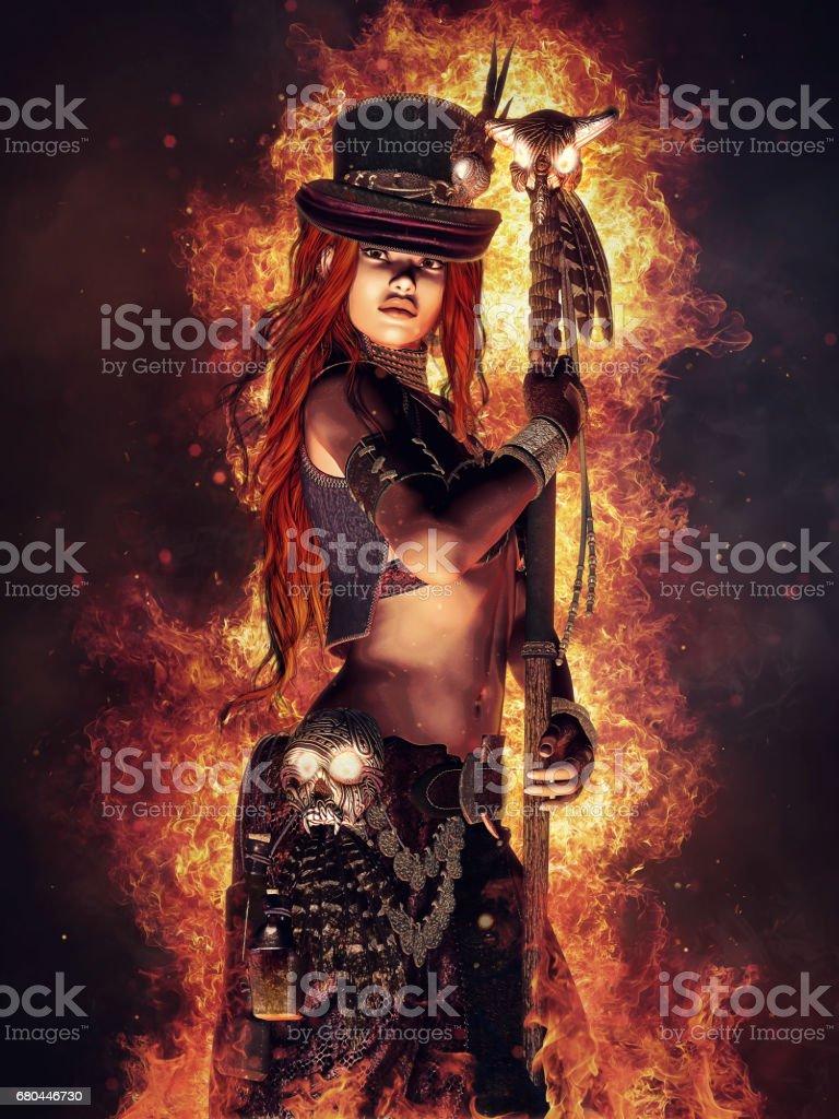 Sorceress with a skull staff vector art illustration