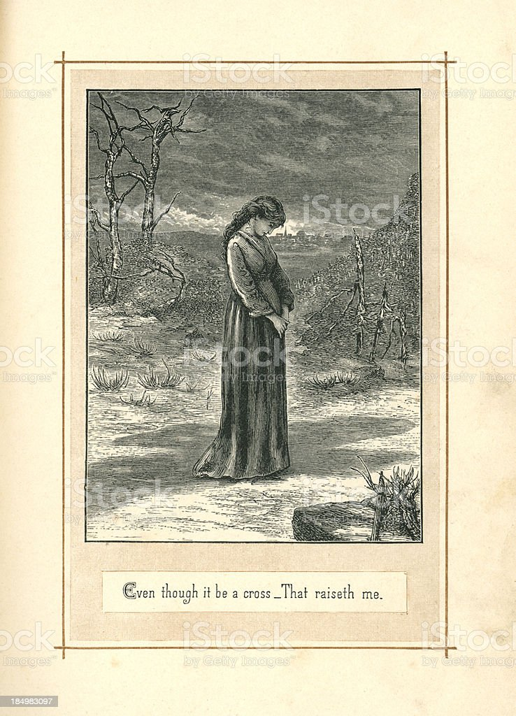 Sorrowful young woman (1883) vector art illustration
