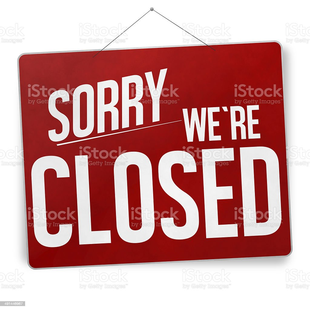 sorry we are closed red sign vector art illustration