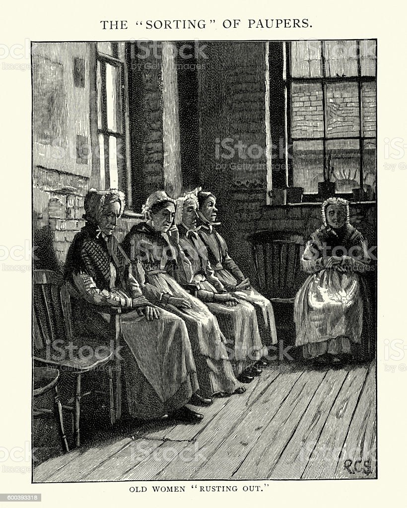 Sorting of Paupers Old Women Rusting Out 1892 vector art illustration