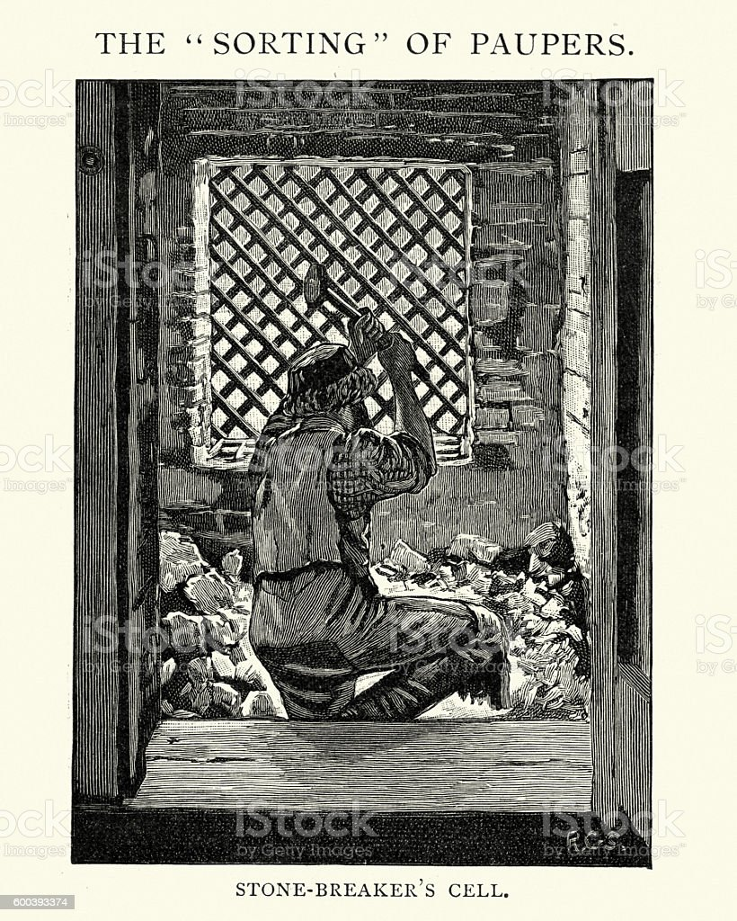 Sorting of Paupers Stone breaker's cell, 1892 vector art illustration