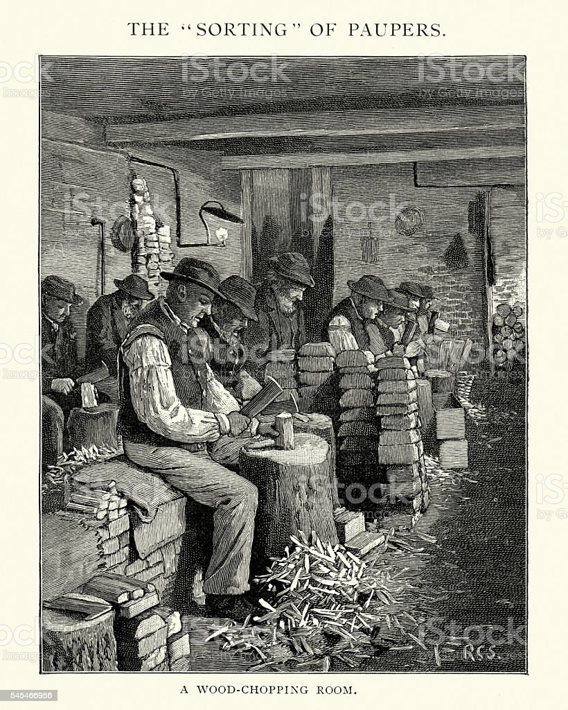 Sorting of the Paupers - Wood Chopping Room vector art illustration