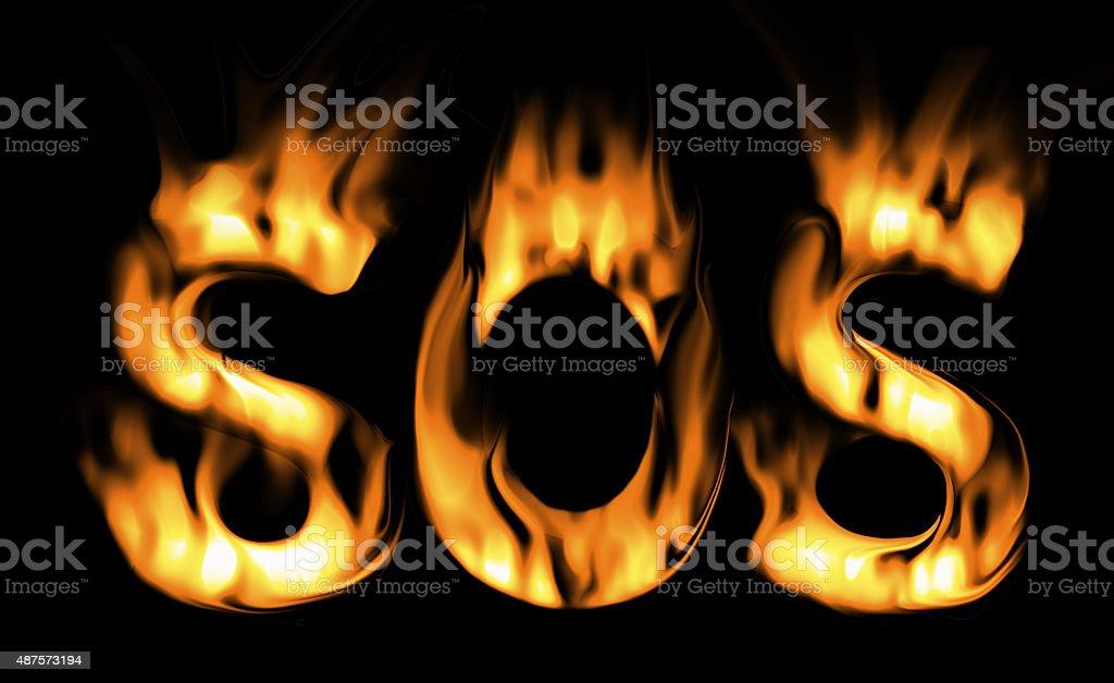 sos fire text. the fire alarm. symbol of fire vector art illustration