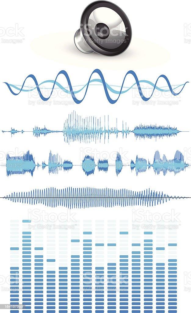 Sound waves vector art illustration