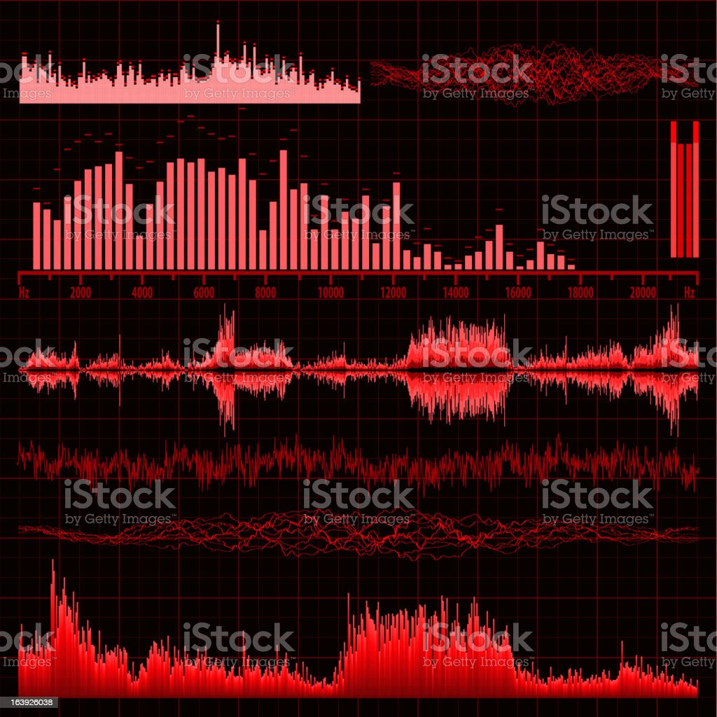 Sound waves set. Music background. EPS 8 royalty-free stock vector art