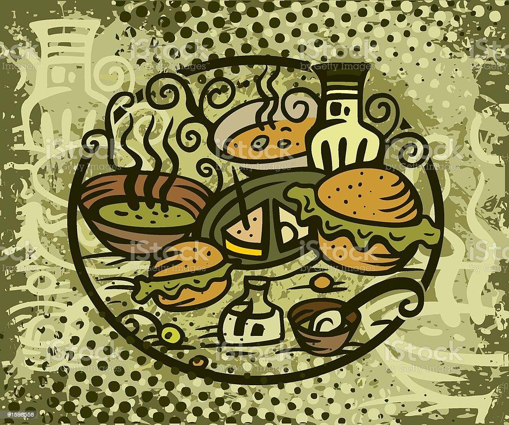 soup & sandwich royalty-free stock vector art
