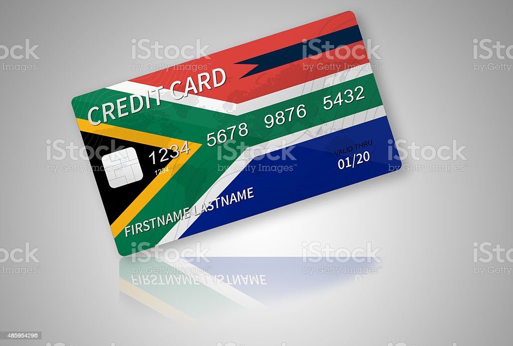 South African Credit Card on Gradient Background vector art illustration