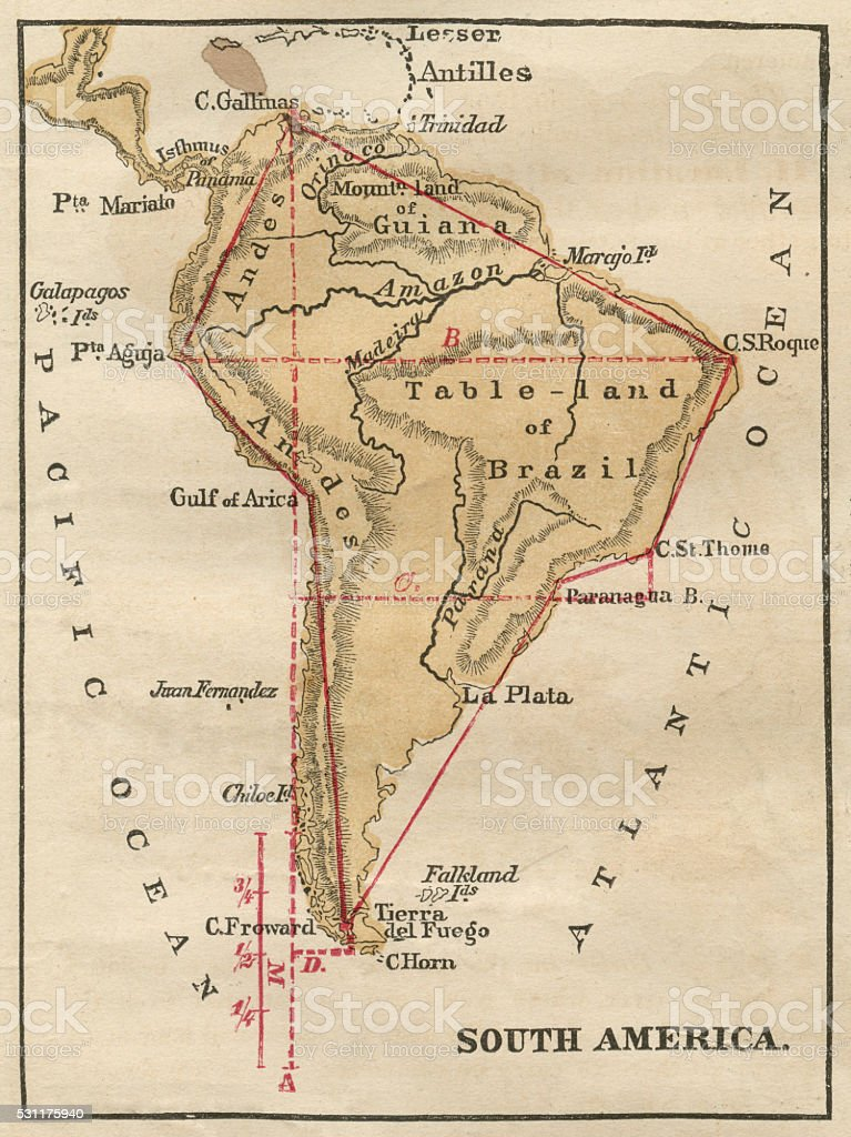 South America Map Illustration, Travel, Exploration, Antique 1871 Illustration stock photo