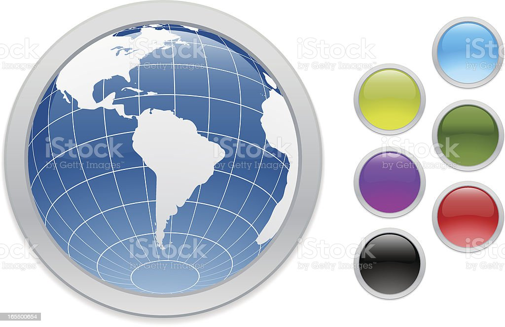 South America Web Buttons vector art illustration