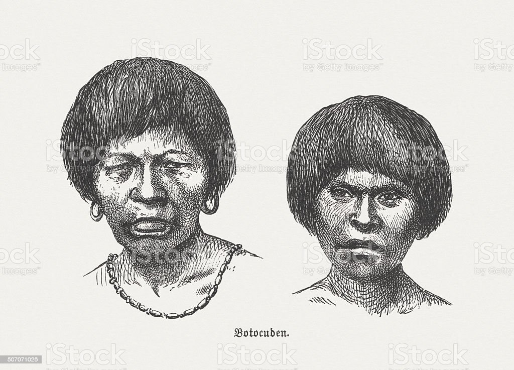 South American Native: Aimoré people (Botocudo), published in 1882 vector art illustration