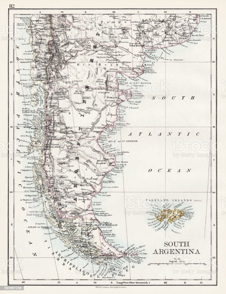 South Argentina map 1897 vector art illustration