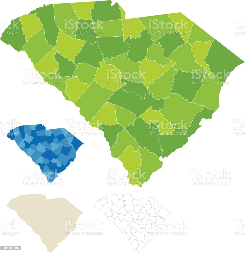 South Carolina County Map royalty-free stock vector art
