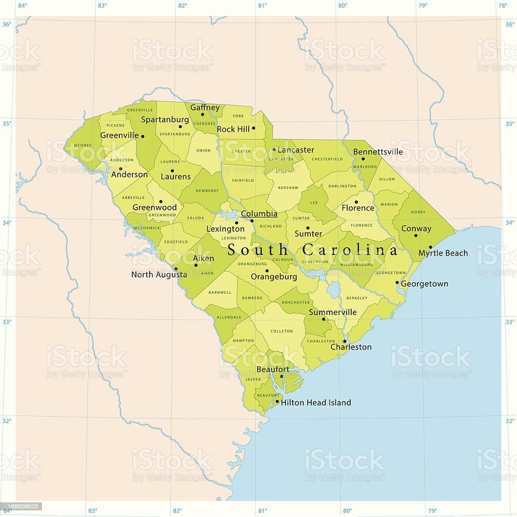 South Carolina Vector Map vector art illustration
