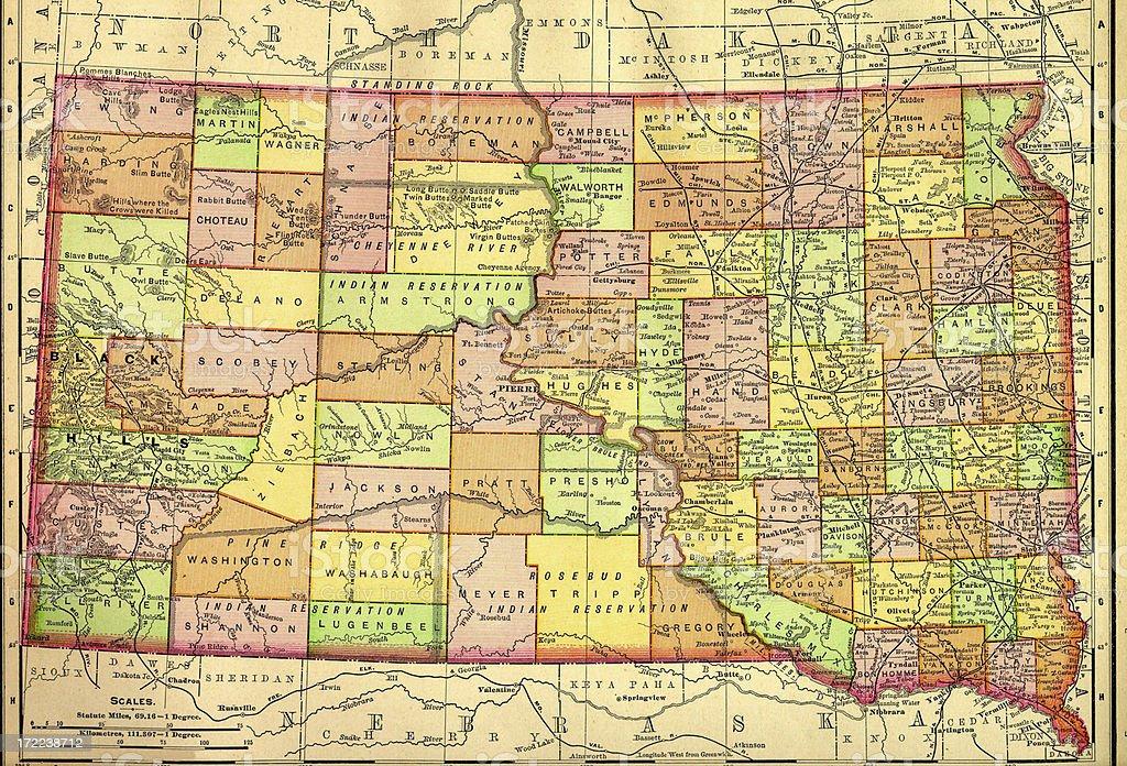 South Dakota Old Map royalty-free stock vector art