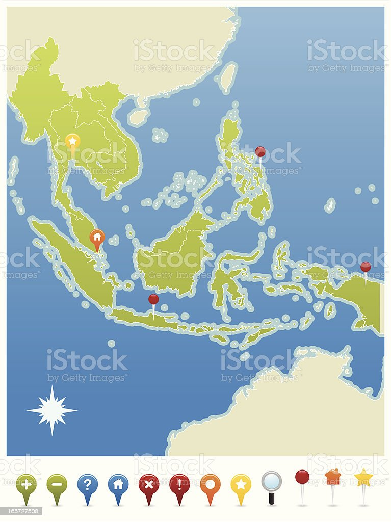 South East Asia GPS Map Pin Icons vector art illustration