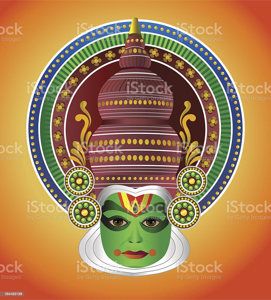 South Indian traditional Kathkali dancer royalty-free stock vector art