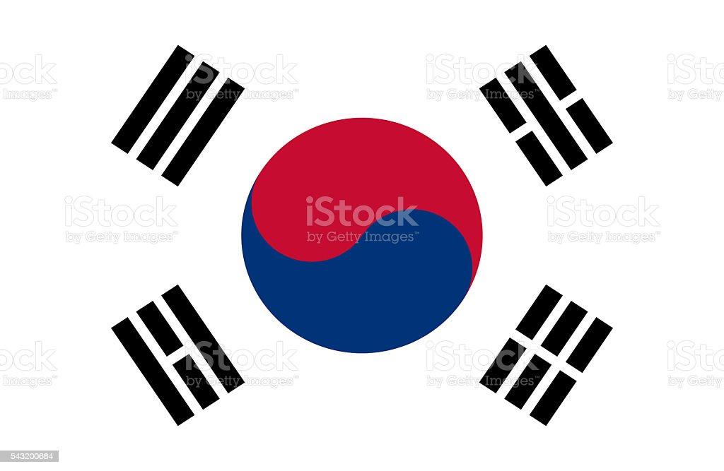 South Korean Flag vector art illustration