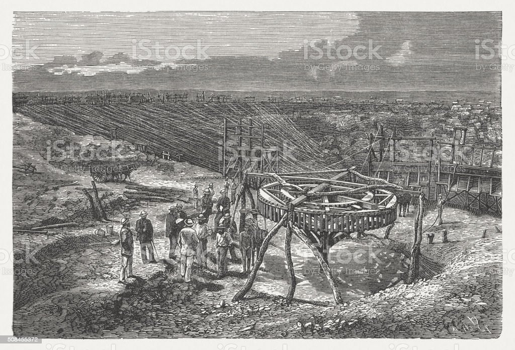 Southern African diamond mine, wood engraving, published in 1882 vector art illustration